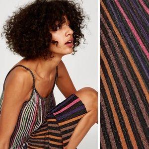 NWT Zara knit rainbow sparkle metallic dress